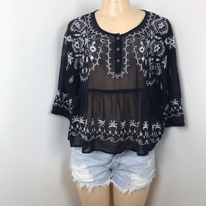 Free People Embroidered Sheer Blouse